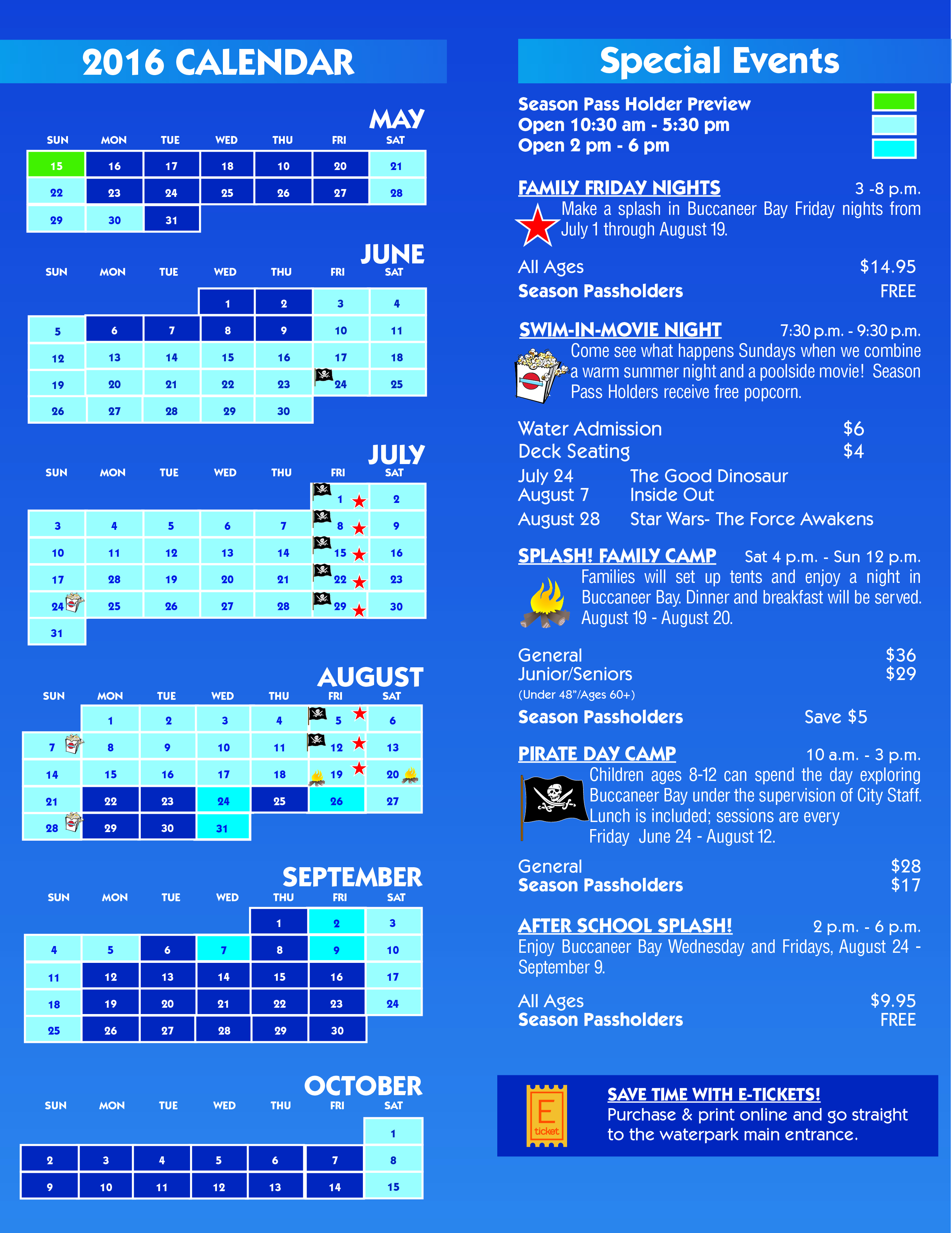 2016 Calendar and special events